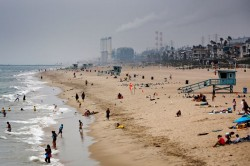 Manhattan Beach, California, with Chevron's El Segundo refinery in the background